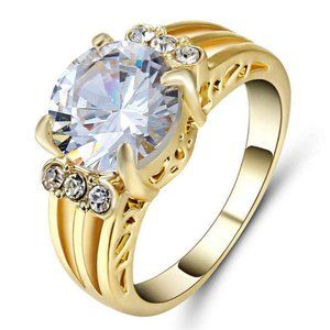 4 CT Round Solitaire Diamond Gold Cocktail Ring 6